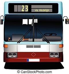 kék, természetjáró, bus., il, vektor, coach.
