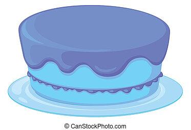 kék, torta, alatt, egy, tál