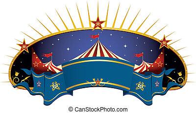 kék, transzparens, cirkusz