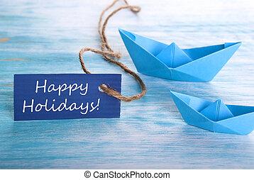 kék, transzparens, noha, boldog, ünnepek
