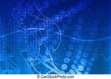 kék, tudomány, orvosi technology, elvont, futuristic