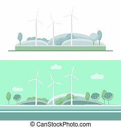 kék, turbina, állhatatos, felteker