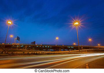 kék, urban láng, ég, ellen, forgalom, homályos, út