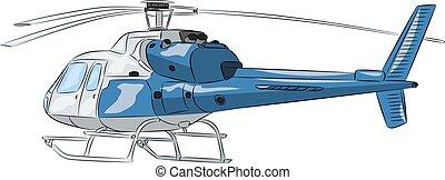 kék, utas, helicopter., vector.