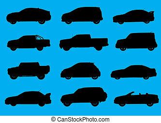 kék, város, autók, elszigetelt, háttér., körvonal, különféle