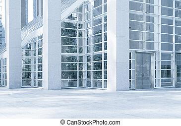 kék, város, színezett, hivatal, töredék, modern kortárs, épület, kilátás