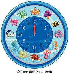 kék, víz alatti, sablon, óra
