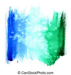 kék, vízfestmény, zöld, nedves