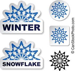 kék, vektor, böllér, tél, hópehely