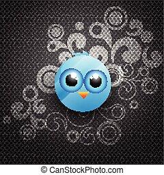 kék, vektor, madár