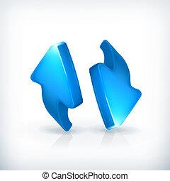 kék, vektor, nyílvesszö