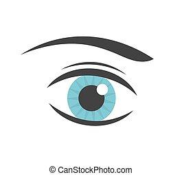 kék, vektor, szem