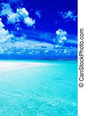 kék, vibráló, ég, óceán, tengerpart, üres