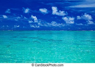 kék, vibráló, ég, óceán, tropikus, befest