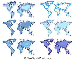 kék, világ, hat