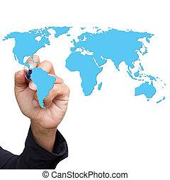 kék, világ, kéz, rajz, térkép