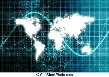kék, világ, tőzsdepiac, gazdaság