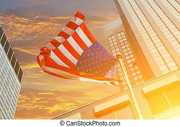kék, világos ég, amerikai, ellen, lobogó