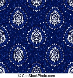 kék, virágos, damaszt, seamless, motívum