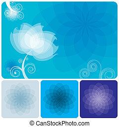 kék, virágos, háttér