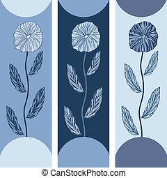 kék, virágos, szalagcímek, menstruáció, három