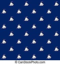 kék, vitorlás hajó, háttér, seamless, motívum