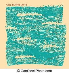 kék, waves.vector, kép, közül, tenger víz, háttér