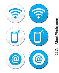 kék, wifi, internet, hálózat, sáv