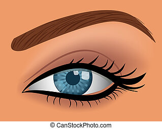 kék, woman szem, vektor