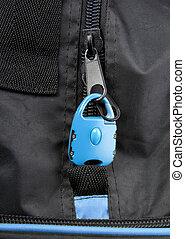 kék, zár, táska