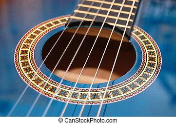 kék, zene, gitár, helyett, játék, fél, zene