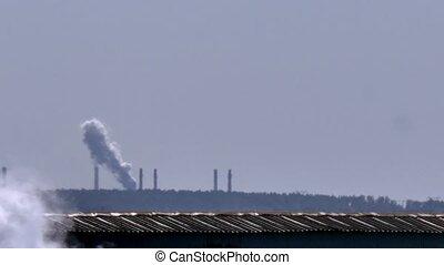 kémény, közül, gyár, csövek, kémény, smoke.