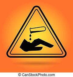 kémiai, biztonság, aláír, ikon