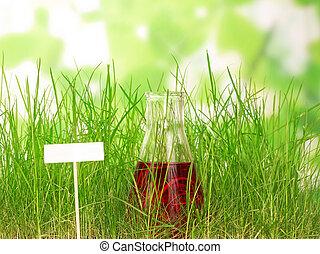 kémiai, flaska, kísérleti, folyékony