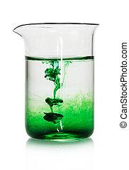 kémiai, flaska, zöld, folyékony