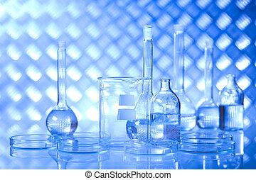 kémiai, laboratórium, üvegáru