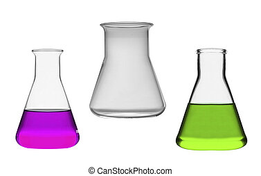 kémiai, laboratórium, palackok, elszigetelt, folyékony
