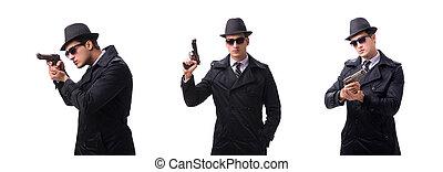 kémkedik, elszigetelt, háttér, fehér, kézifegyver, ember