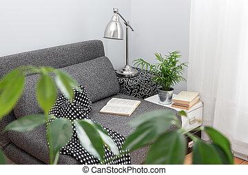 kényelmes, állás, helyett, felolvasás, alatt, egy, nappali