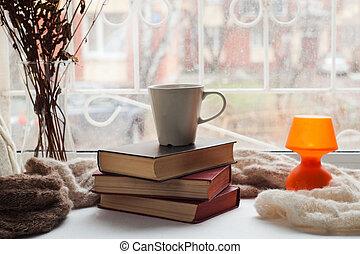 kényelmes, állás, helyett, maradék, közel, ablak, alatt, flat., hétvégi, maradék, idő, helyett, felolvasás