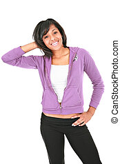 kényelmes, öltözött, fiatal, african american női, diák, mosolygós