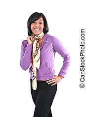 kényelmes, öltözött, fiatal, african american női, mosolygós