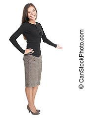 kényelmes, üzletasszony, fogadtatás, gesztus