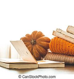 kényelmes, ősz, háttér, dekoratív, sütőtök, száraz virág, előjegyez, meleg, pulóver, hely, helyett, szöveg, felolvasás, alatt, a, ősz, day.