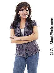 kényelmes, fiatal, hispanic woman