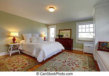 kényelmes, hálószoba, noha, fehér, ágynemű
