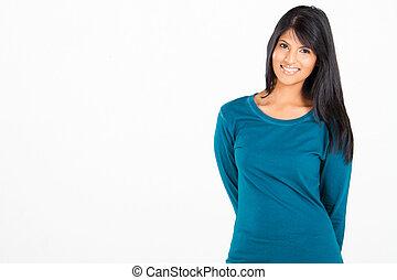 kényelmes, indiai, nő