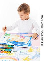kényelmes, iskolásfiú, festmény
