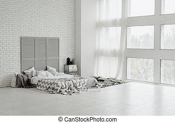 kényelmes, nagy, szürke, tervezés, tágas, hálószoba, belső