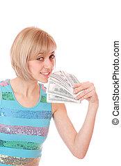 kényelmes, vidám woman, noha, pénz